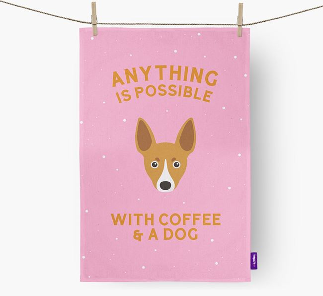 'Anything Is Possible With Coffee/Tea...' - Personalized Toy Fox Terrier Dish Towel