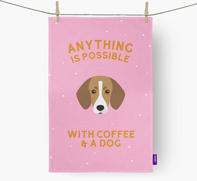 'Anything Is Possible With Coffee/Tea...' - Personalized Trailhound Dish Towel