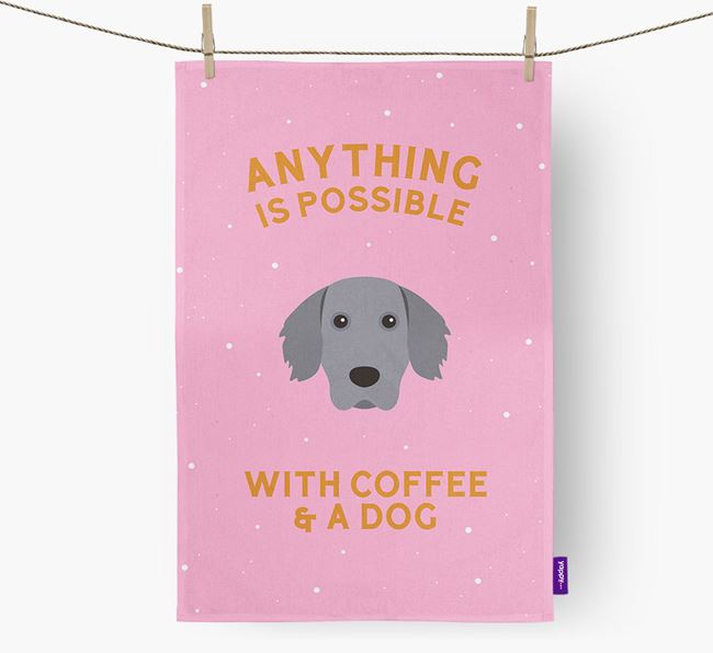 'Anything Is Possible With Coffee/Tea...' - Personalized Weimaraner Dish Towel