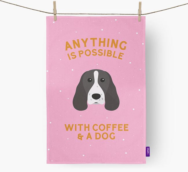 'Anything Is Possible With Coffee/Tea...' - Personalized Welsh Springer Spaniel Dish Towel