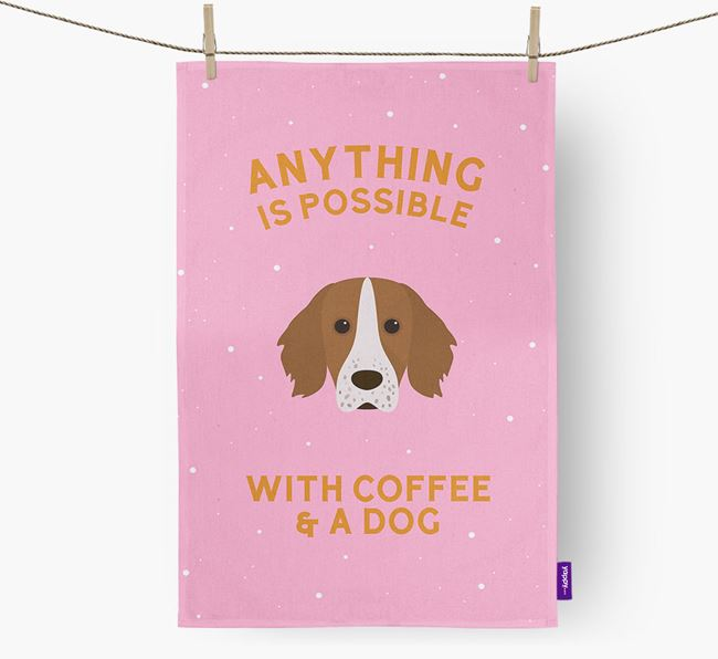 'Anything Is Possible With Coffee/Tea...' - Personalized Working Cocker Spaniel Dish Towel