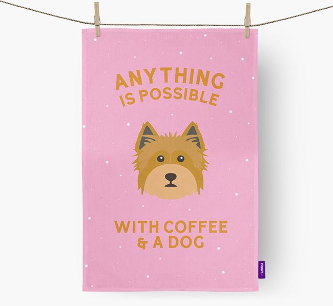 'Anything Is Possible With Coffee/Tea...' - Personalized Yorkshire Terrier Dish Towel