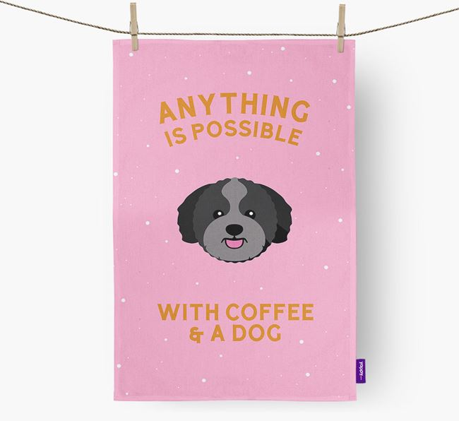 'Anything Is Possible With Coffee/Tea...' - Personalized Zuchon Dish Towel