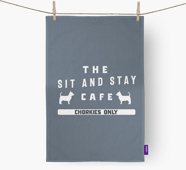 'The Sit And Stay Cafe'  - Personalized Chorkie Dish Towel