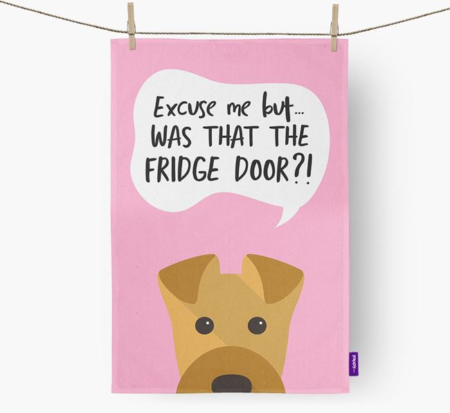 '...Was That The Fridge Door?!' - Personalized Airedale Terrier Dish Towel