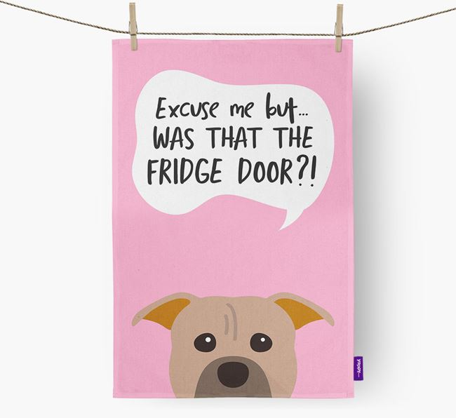 '...Was That The Fridge Door?!' - Personalized American Pit Bull Terrier Dish Towel