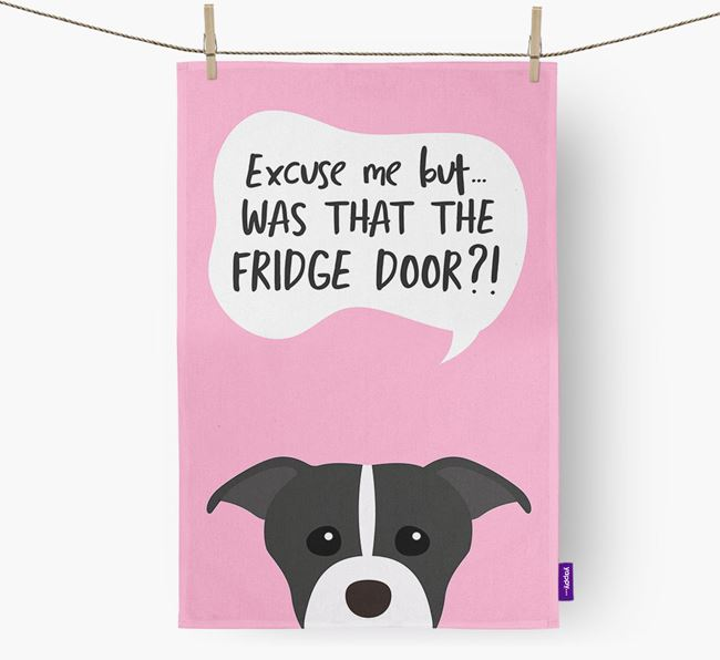 '...Was That The Fridge Door?!' - Personalized American Staffordshire Terrier Dish Towel