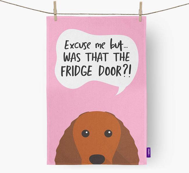 '...Was That The Fridge Door?!' - Personalized American Water Spaniel Dish Towel