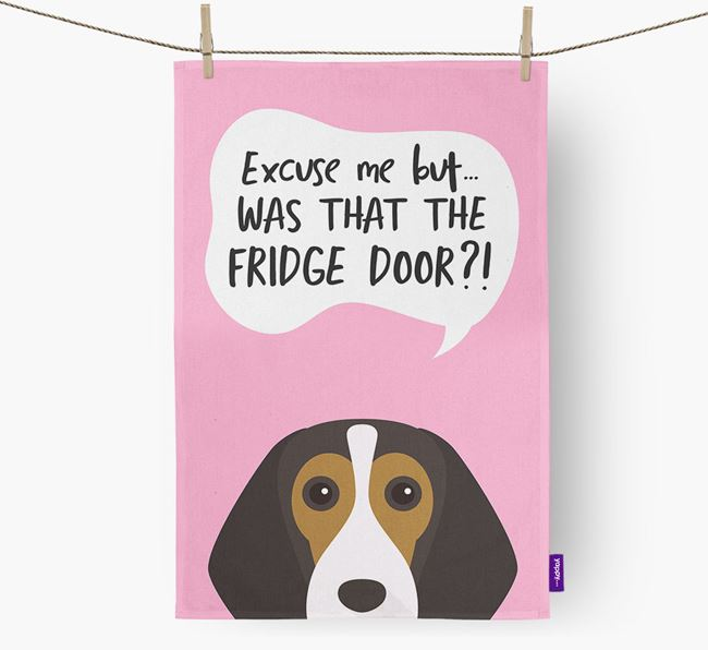 '...Was That The Fridge Door?!' - Personalized Beagle Dish Towel
