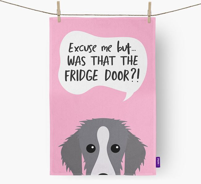 '...Was That The Fridge Door?!' - Personalized Bedlington Whippet Dish Towel