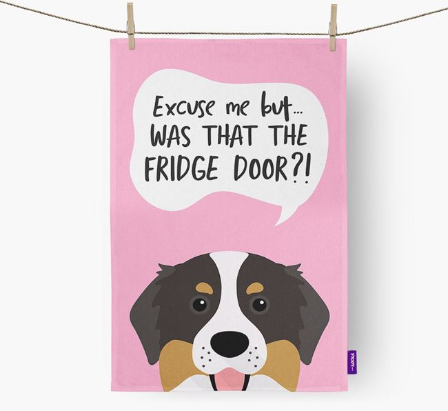 '...Was That The Fridge Door?!' - Personalized Bernese Mountain Dog Dish Towel