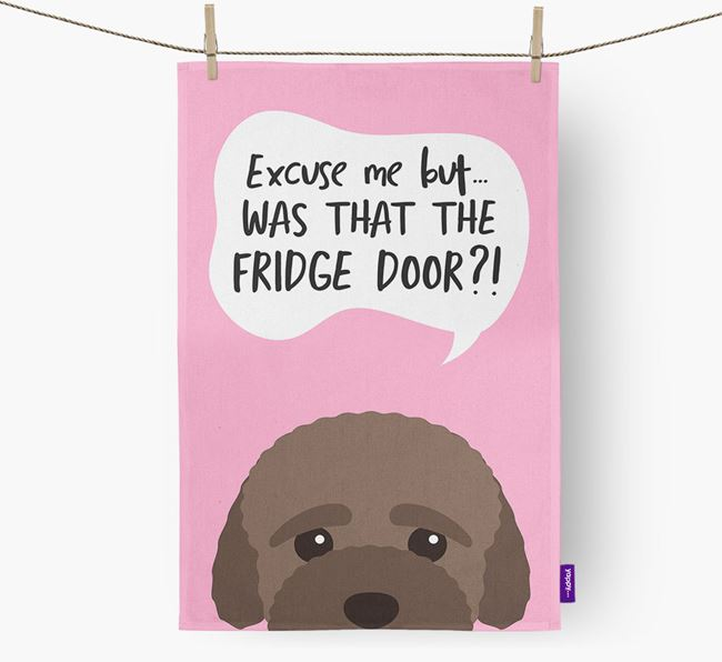 '...Was That The Fridge Door?!' - Personalized Bich-poo Dish Towel