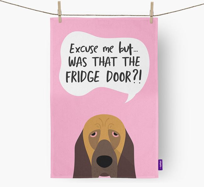 '...Was That The Fridge Door?!' - Personalized Bloodhound Dish Towel