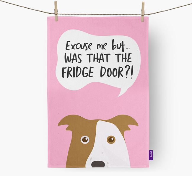 '...Was That The Fridge Door?!' - Personalized Border Collie Dish Towel