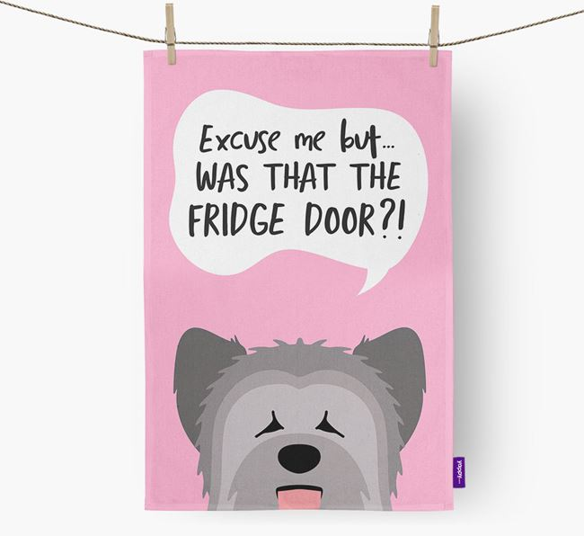 '...Was That The Fridge Door?!' - Personalized Briard Dish Towel