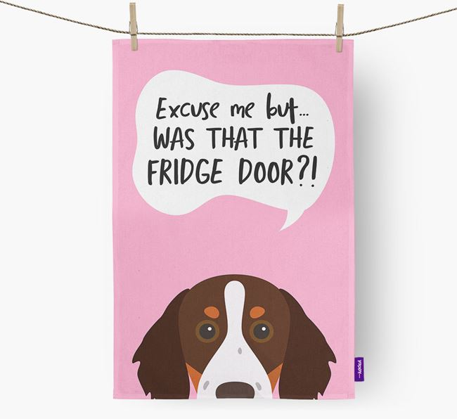 '...Was That The Fridge Door?!' - Personalized Brittany Dish Towel