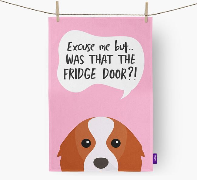 '...Was That The Fridge Door?!' - Personalized Cavalier King Charles Spaniel Dish Towel