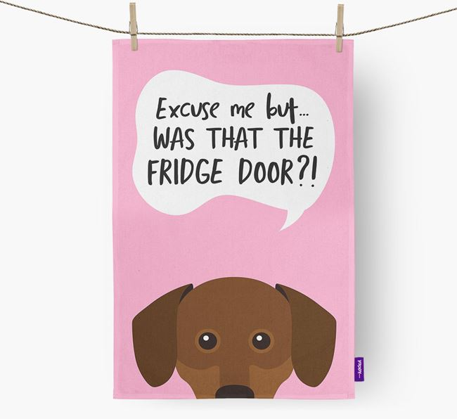 '...Was That The Fridge Door?!' - Personalized Chiweenie Dish Towel