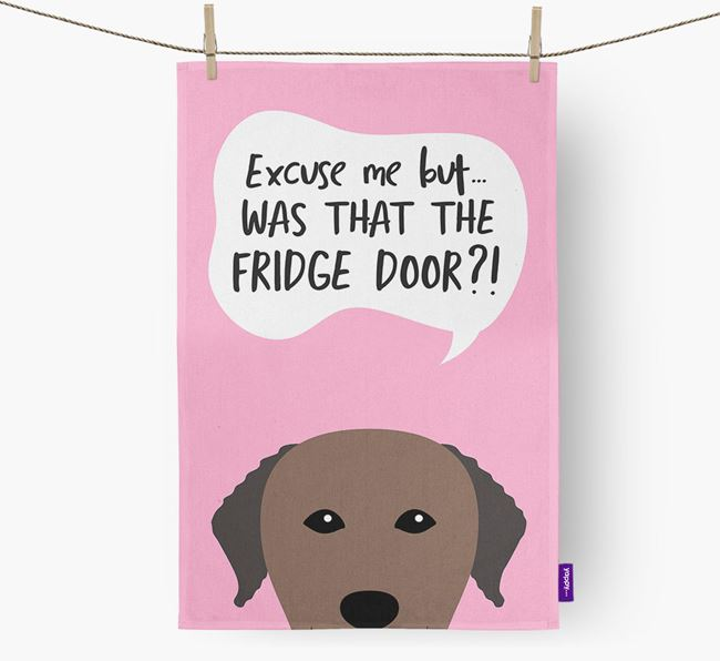 '...Was That The Fridge Door?!' - Personalized Curly Coated Retriever Dish Towel