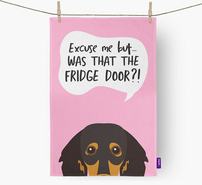 '...Was That The Fridge Door?!' - Personalized Dachshund Dish Towel