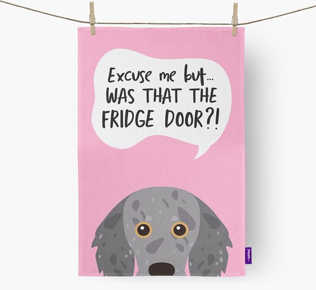 '...Was That The Fridge Door?!' - Personalized Doxiepoo Dish Towel