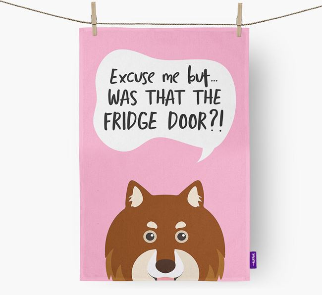 '...Was That The Fridge Door?!' - Personalized Finnish Lapphund Dish Towel