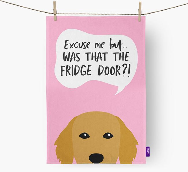'...Was That The Fridge Door?!' - Personalized Flat-Coated Retriever Dish Towel