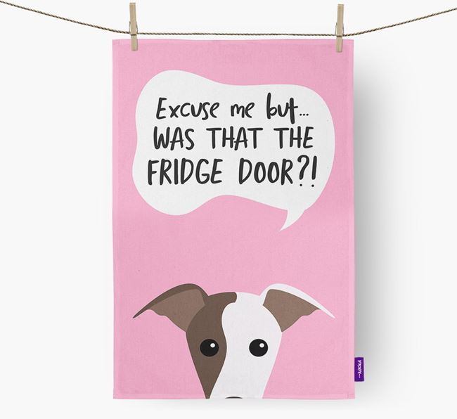'...Was That The Fridge Door?!' - Personalized Greyhound Dish Towel