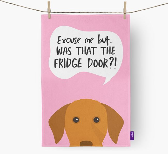 '...Was That The Fridge Door?!' - Personalized Hungarian Vizsla Dish Towel