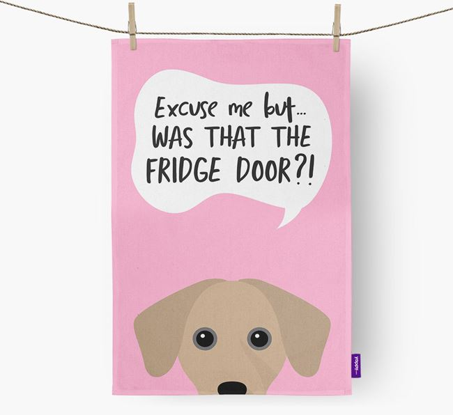 '...Was That The Fridge Door?!' - Personalized Jack-A-Bee Dish Towel