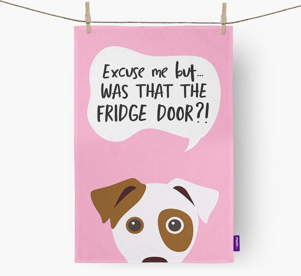 '...Was That The Fridge Door?!' - Personalized Dog Dish Towel