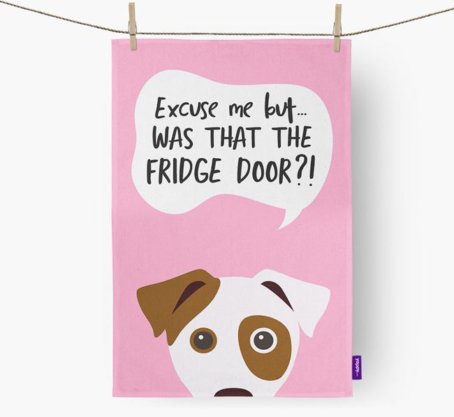 '...Was That The Fridge Door?!' - Personalized Jack Russell Terrier Dish Towel