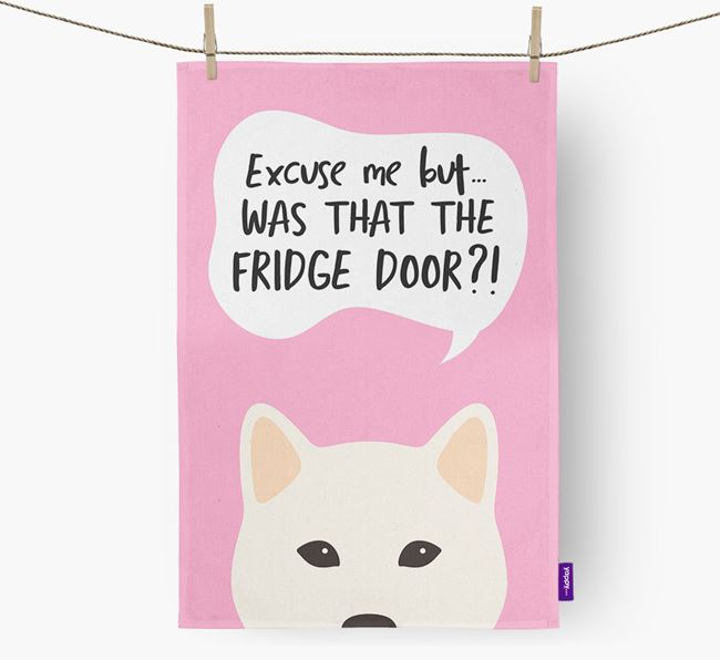 '...Was That The Fridge Door?!' - Personalized Japanese Shiba Dish Towel