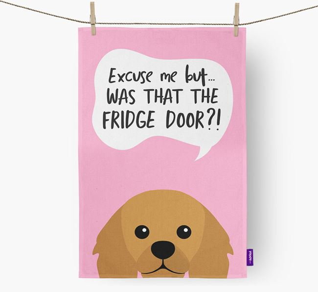 '...Was That The Fridge Door?!' - Personalized King Charles Spaniel Dish Towel