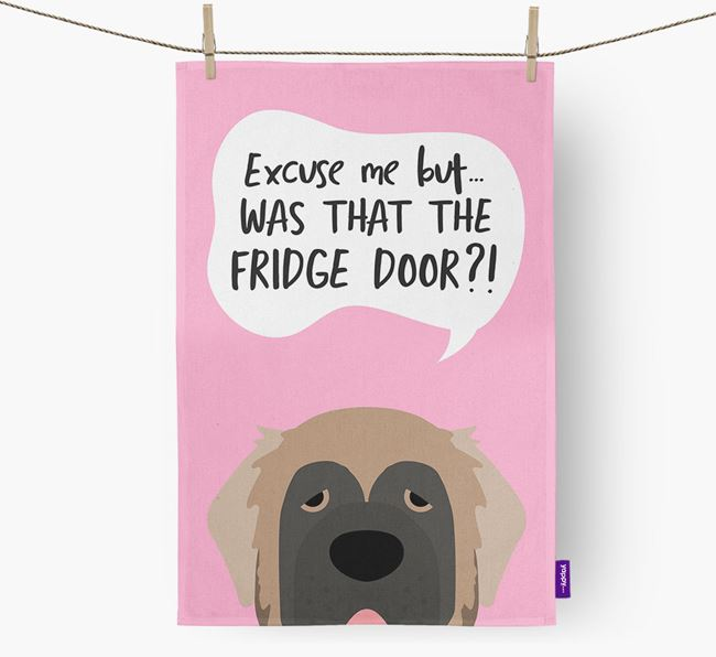 '...Was That The Fridge Door?!' - Personalized Leonberger Dish Towel
