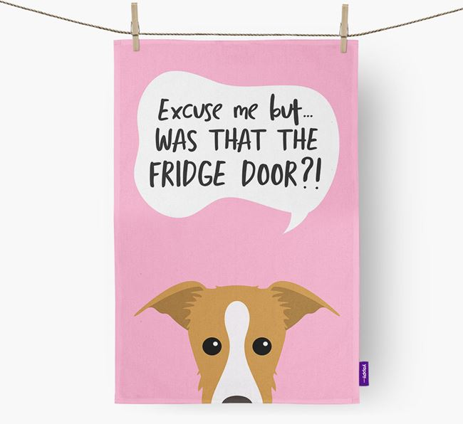'...Was That The Fridge Door?!' - Personalized Lurcher Dish Towel