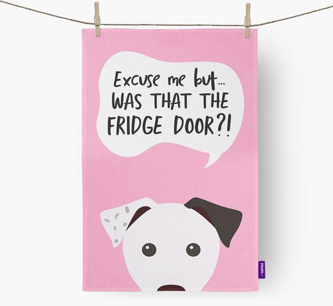 '...Was That The Fridge Door?!' - Personalized Parson Russell Terrier Dish Towel