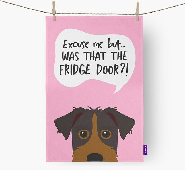 '...Was That The Fridge Door?!' - Personalized Patterdale Terrier Dish Towel