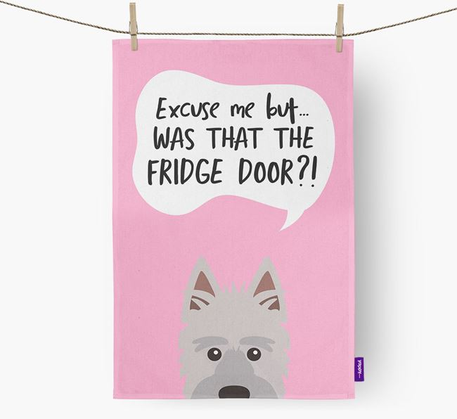 '...Was That The Fridge Door?!' - Personalized Picardy Sheepdog Dish Towel