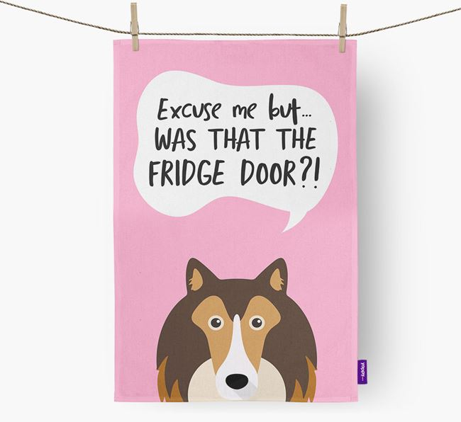 '...Was That The Fridge Door?!' - Personalized Rough Collie Dish Towel