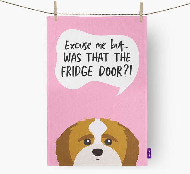 '...Was That The Fridge Door?!' - Personalized Shih-poo Dish Towel