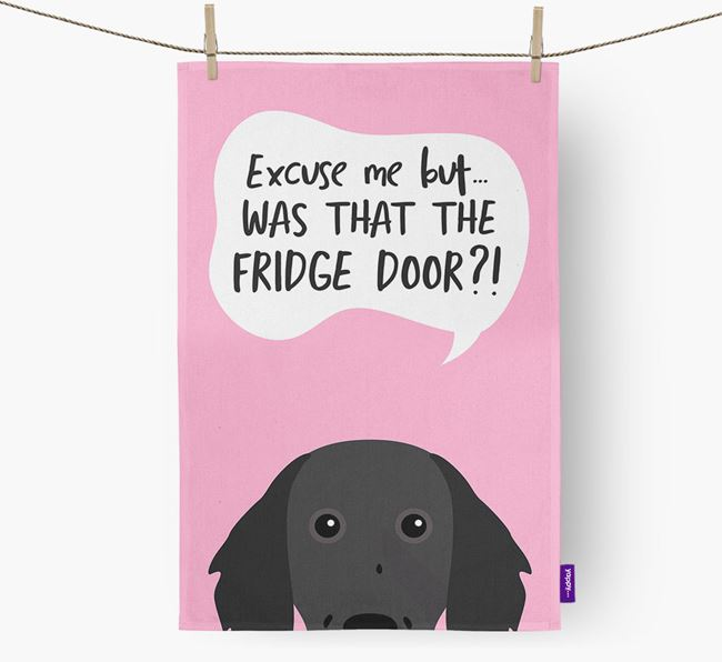 '...Was That The Fridge Door?!' - Personalized Small Munsterlander Dish Towel