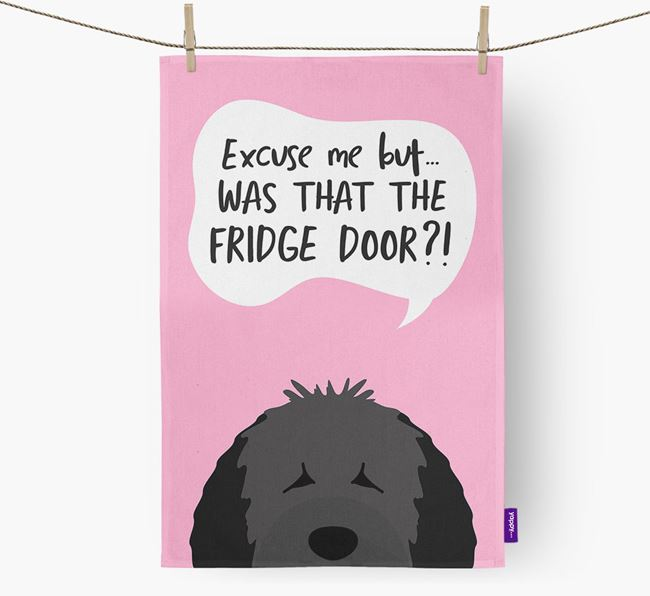 '...Was That The Fridge Door?!' - Personalized Spanish Water Dog Dish Towel