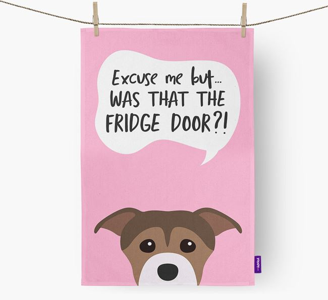 '...Was That The Fridge Door?!' - Personalized Staffordshire Bull Terrier Dish Towel