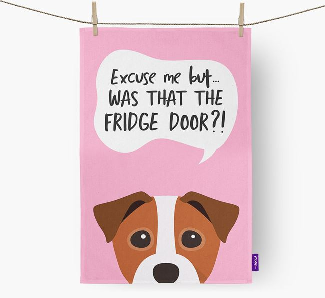 '...Was That The Fridge Door?!' - Personalized Staffy Jack Dish Towel