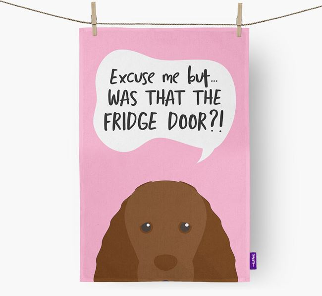 '...Was That The Fridge Door?!' - Personalized Sussex Spaniel Dish Towel