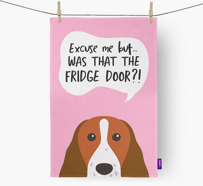 '...Was That The Fridge Door?!' - Personalized Welsh Springer Spaniel Dish Towel