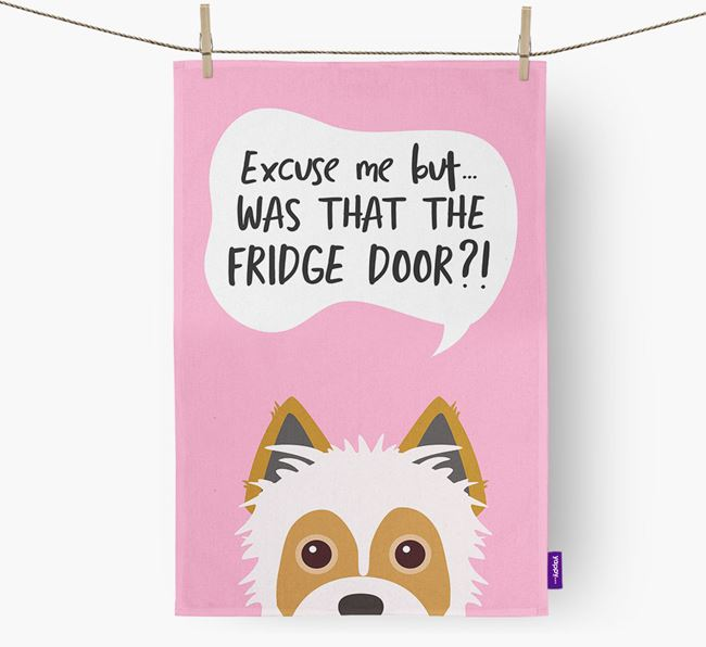 '...Was That The Fridge Door?!' - Personalized Yorkie Russell Dish Towel