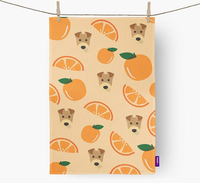 'Fruit Pattern' - Personalized Airedale Terrier Tea Towel