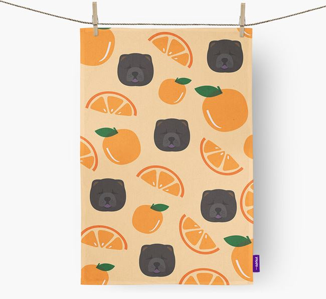 'Fruit Pattern' - Personalized Chow Chow Tea Towel